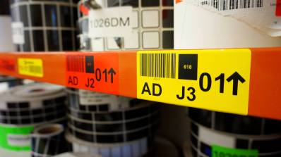 DuraReady's #1004DRD and #1004DYW, eye-catching warehouse labels.
