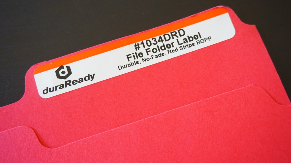 Keep your office organized with DuraReady's file folder labels.