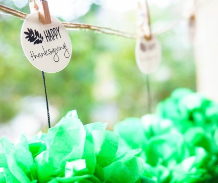 """Create festive banners with our 1"""" round #1033DM labels."""